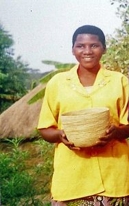 Basket Rachael made for resale, Kyangwali micro-finance, Peopleweaver